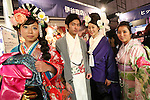 Models wearing traditional kimono pose for pictures during the Moshi Moshi Nippon Festival 2016 on November 26, 2016 in Tokyo, Japan. Moshi Moshi Nippon Festival 2016 aims to promote Japanese pop culture (fashion, anime, technology, music and food) to the world, and non-Japanese visitors are able to enter the event for free by showing their passport. This year's two day event included live shows by Japanese pop stars Silent Siren, Dempagumi.inc, Tempura Kids, Capsule and Kyary Pamyu Pamyu at the Tokyo Metropolitan Gymnasium. (Photo by Rodrigo Reyes Marin/AFLO)