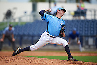 Charlotte Stone Crabs pitcher Kyle McKenzie (27) delivers a pitch during a game against the Dunedin Blue Jays on July 26, 2015 at Charlotte Sports Park in Port Charlotte, Florida.  Charlotte defeated Dunedin 2-1 in ten innings.  (Mike Janes/Four Seam Images)
