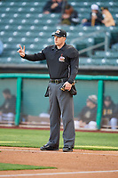 Umpire Clint Vondrak handles the calls behind the plate during the game between the Salt Lake Bees and the Sacramento River Cats at Smith's Ballpark on April 12, 2019 in Salt Lake City, Utah. The River Cats defeated the Bees 4-2. (Stephen Smith/Four Seam Images)