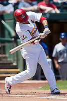 Luis Mateo (7) of the Springfield Cardinals swings at a pitch during a game against the Tulsa Drillers at Hammons Field on May 4, 2014 in Springfield, Missouri. (David Welker/Four Seam Images)
