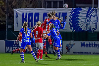 Standard forward Sanne Schoenmakers (8) , Gent's defender Fran Meersman (5) , ... pictured during a female soccer game between  AA Gent Ladies and Standard Femina de Liege on the 8 th matchday of the 2020 - 2021 season of Belgian Scooore Womens Super League , friday 20 th of November 2020  in Oostakker , Belgium . PHOTO SPORTPIX.BE   SPP   STIJN AUDOOREN