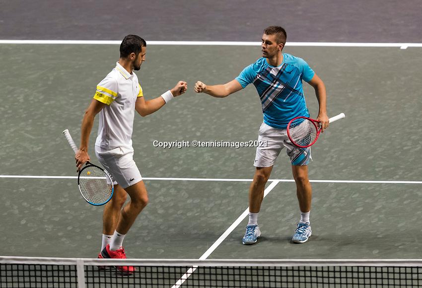 Rotterdam, The Netherlands, 2 march  2021, ABNAMRO World Tennis Tournament, Ahoy, First round doubles: Nikola Mektic (CRO) / Mate Pavic (CRO).<br /> Photo: www.tennisimages.com/henkkoster