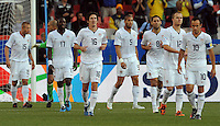 Dejected USA players after Brazil's first goal. Brazil defeated USA 3-0 during the FIFA Confederations Cup at Loftus Versfeld Stadium in Tshwane/Pretoria, South Africa on June 18, 2009.