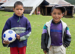 Two young boys in their village in Chuatuj, Western Highlands, Guatemala