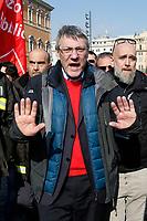 Maurizio Landini<br /> Rome February 9th 2019. Demonstration of the three Italian trade unions, CGIL, CISL, UIL.<br /> Foto Samantha Zucchi Insidefoto
