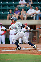 Pulaski Yankees second baseman Ezequiel Duran (26) follows through on a swing during a game against the Greeneville Reds on July 27, 2018 at Pioneer Park in Tusculum, Tennessee.  Greeneville defeated Pulaski 3-2.  (Mike Janes/Four Seam Images)