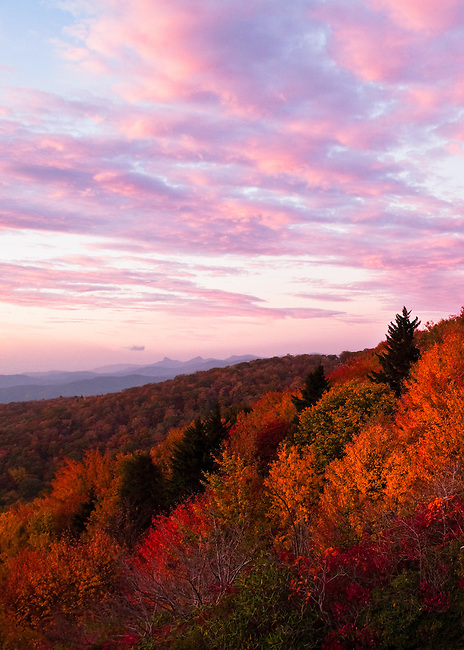 Autumn sunrise as viewed from Beacon Heights, Blue Ridge Parkway