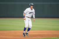 Jake Peter (3) of the Winston-Salem Dash takes his lead off of second base against the Myrtle Beach Pelicans at BB&T Ballpark on April 18, 2015 in Winston-Salem, North Carolina.  The Pelicans defeated the Dash 8-4 in game two of a double-header.  (Brian Westerholt/Four Seam Images)