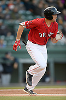 First baseman Triston Casas (38) of the Greenville Drive runs toward first in a game against the Rome Braves on Saturday, April 20, 2019, at Fluor Field at the West End in Greenville, South Carolina. Rome won, 5-4. (Tom Priddy/Four Seam Images)