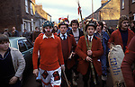 Haxey Hood Game. Haxey Lincolnshire 1970s. The Fool Peter Bee, Chief Boggin Arthur Clark  and Lord Stan Boor. <br />