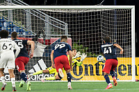 FOXBOROUGH, MA - JULY 9: Joe Rice #51 of New England Revolution II penalty kick save during a game between Toronto FC II and New England Revolution II at Gillette Stadium on July 9, 2021 in Foxborough, Massachusetts.
