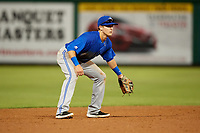 Dunedin Blue Jays shortstop Logan Warmoth (2) during a game against the Clearwater Threshers on April 6, 2018 at Spectrum Field in Clearwater, Florida.  Clearwater defeated Dunedin 8-0.  (Mike Janes/Four Seam Images)