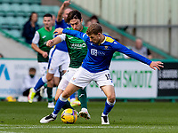 26th September 2021;  Easter Road , Leith, Edinburg, Scotland; Scottish Premier League football, Hibernian versus St Johnstone; Joe Newell of Hibernian and David Wotherspoon of St Johnstone compete for possession of the ball
