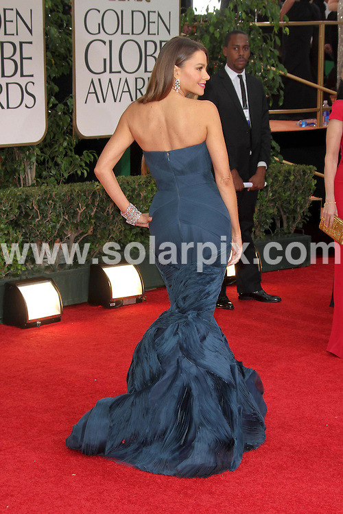 **ALL ROUND PICTURES FROM SOLARPIX.COM**                                             **SYNDICATION RIGHTS FOR UK, AUSTRALIA, DENMARK, PORTUGAL, S. AFRICA, SPAIN & DUBAI (U.A.E) & ASIA (EXCLUDING JAPAN) ONLY**                                                                                  Caption: 69th Annual Golden Globe Awards - Press Room at The Beverly Hilton Hotel - Beverly Hills, CA, USA                                                                              This pic:Sofia Vergara                                                                      .JOB REF: 14363       PHZ       DATE: 15.01.2012                                                           **MUST CREDIT SOLARPIX.COM OR DOUBLE FEE WILL BE CHARGED**                                                                      **MUST AGREE FEE BEFORE ONLINE USAGE**                               **CALL US ON: +34 952 811 768 or LOW RATE FROM UK 0844 617 7637**
