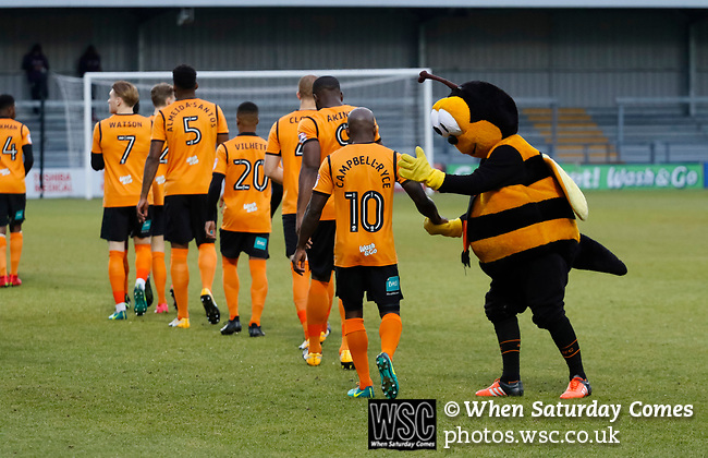 Barnet 2 Morecambe 0, 16/12/2017. The Hive, League Two. The Barnet mascot encourages Barnet's Jamal Campbell-Ryce. Photo by Paul Thompson.