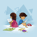 Illustrative image of children using digital tablet representing computer addiction