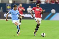 Houston, TX - Thursday July 20, 2017: Kyle Walker and Marcus Rashford during a match between Manchester United and Manchester City in the 2017 International Champions Cup at NRG Stadium.
