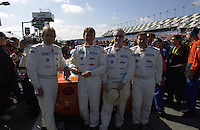 .The Derhaag Motorsports team of (L to R) Derek and Justin Bell, Simon Gregg and Kenny Wilden.. .