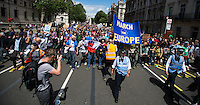 """12:56 - The front of the march arrives in Parliament Square. <br /> <br /> London, 02/07/2016. Today, more than 60 thousand people marched peacefully from Park Lane to Parliament Square to protest against the EU Referendum result which is leading the United Kingdom to the so called """"Brexit"""", in other words to leave the European Union. Protestors of all ages were present in significant numbers representing all the generations of the British population. On the 23rd of June 2016 the British people voted in the EU Referendum (Turnout 72.2%): 51,9% to leave the EU (17,410,742 Votes) versus 48,1% to remain in the EU (16,141,241 Votes). In the morning of the 24th of June the British Prime Minister David Cameron gave a speech outside 10 Downing Street in which he announced the EU Referendum results and his formal resignation within 3 months. Cameron decision triggered the leadership race in the Conservative Party between the Home Secretary Theresa May MP (backed Remain in the EU Referendum) and the Lord Chancellor and Secretary of State for Justice Michael Gove MP (backed Leave in the EU Referendum). On the 30th of June, the former Mayor of London and major figure in the Leave Campaign, Boris Johnson MP, surprisingly withdrew from the leadership contest. The new leader of the Conservative Party will succeed David Cameron as the new British Prime Minister.<br /> <br /> For more information about the demo please click here: https://www.facebook.com/events/1732671000335981/ & https://www.facebook.com/events/244646665920554/<br /> <br /> For more information about the result please click here: http://www.bbc.co.uk/news/politics/eu_referendum/results"""