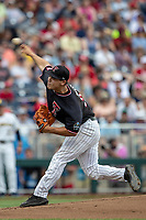 Texas Tech Red Raiders pitcher Micah Dallas (34) delivers a pitch to the plate during Game 1 of the NCAA College World Series against the Michigan Wolverines on June 15, 2019 at TD Ameritrade Park in Omaha, Nebraska. Michigan defeated Texas Tech 5-3. (Andrew Woolley/Four Seam Images)
