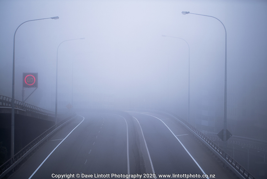 An empty southbound State Highway One at rush hour before the Terrace Tunnel entrance to Wellington CBD during quarantine lockdown for COVID19 pandemic in Wellington, New Zealand on Wednesday, 1 April 2020. Photo: Dave Lintott / lintottphoto.co.nz