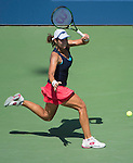 Varvara Lepchenko (USA) loses to Victoria Azarenka (BLR) 6-3, 6-4 at the US Open in Flushing, NY on September 7, 2015.