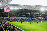 Fans wide <br /> Re: Behind the Scenes Photographs at the Liberty Stadium ahead of and during the Premier League match between Swansea City and Bournemouth at the Liberty Stadium, Swansea, Wales, UK. Saturday 25 November 2017