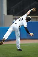 Wake Forest Demon Deacons third baseman Johnny Aiello (2) tries to catch a pop fly during the game against the Florida Gators in the completion of Game Two of the Gainesville Super Regional of the 2017 College World Series at Alfred McKethan Stadium at Perry Field on June 12, 2017 in Gainesville, Florida. The Demon Deacons walked off the Gators 8-6 in 11 innings. (Brian Westerholt/Four Seam Images)
