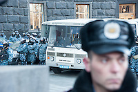 Police forces protecting Ministry. Kiev. Ukraine Thousands of people are continuing to express their support to european integration and protesting against decision of Ukrainian government to refuse signing of association with EU in Vilnius.