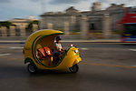 """The """"coco taxi"""" isa good way to move fast and cheap in La Havana"""