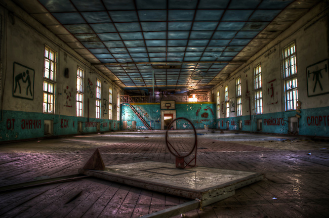 An old sport hall in a abandoned Soviet nuclear missile base