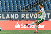 FOXBOROUGH, MA - AUGUST 26: Evan Lee #12 of Greenville Triumph SC passes the ball during a game between Greenville Triumph SC and New England Revolution II at Gillette Stadium on August 26, 2020 in Foxborough, Massachusetts.