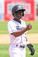 Kane County Cougars shortstop Jasrado Chisholm (3) during a Midwest League game against the Quad Cities River Bandits on July 1, 2018 at Northwestern Medicine Field in Geneva, Illinois. Quad Cities defeated Kane County 3-2. (Brad Krause/Four Seam Images)