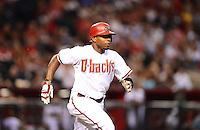 Aug. 28, 2012; Phoenix, AZ, USA: Arizona Diamondbacks outfielder Justin Upton against the Cincinnati Reds at Chase Field. Mandatory Credit: Mark J. Rebilas-
