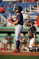 State College Spikes Donivan Williams (5) at bat during a NY-Penn League game against the Batavia Muckdogs on July 1, 2019 at Dwyer Stadium in Batavia, New York.  Batavia defeated State College 5-4.  (Mike Janes/Four Seam Images)