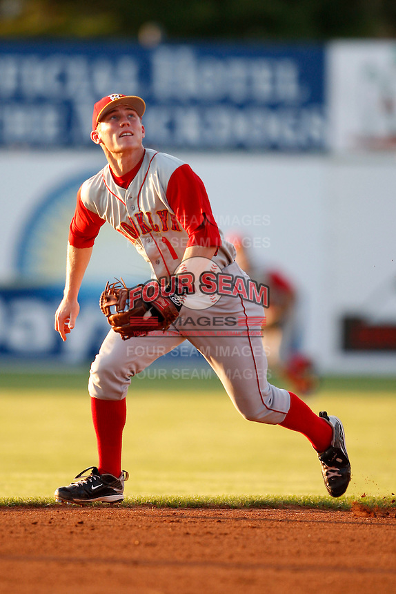 August 5, 2009:  Shortstop Robbie Shields (1) of the Brooklyn Cyclones tracks down a fly ball during a game at Dwyer Stadium in Batavia, NY.  Brooklyn is the Short-Season Class-A affiliate of the New York Mets.  Photo By Mike Janes/Four Seam Images