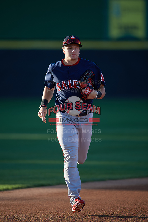 Salem Red Sox center fielder Tate Matheny (19) jogs to the dugout during the first game of a doubleheader against the Potomac Nationals on May 13, 2017 at G. Richard Pfitzner Stadium in Woodbridge, Virginia.  Potomac defeated Salem 6-0.  (Mike Janes/Four Seam Images)