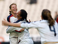 USA midfielder (7) Shannon Boxx celebrates her goal with teammate (17) Lori Chalupny as (9) Heather O'Reilly runs to them during the Four Nations Tournament in  Guangzhou, China on January 20, 2008. The U.S. defeated China, 1-0, to win the tournament.
