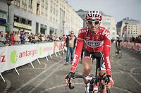 Jelle Vanendert (BEL/Lotto-Belisol) as one of the first riders at the start<br /> <br /> Liège-Bastogne-Liège 2014