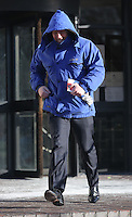 """Pictured: Daniel Clive Gravell, leaving Swansea Crown Court. Tuesday 23 February 2016 <br /> Re: Daniel Clive Gravell, a Swansea comprehensive PE teacher accused of rape of an adult woman is on trial at Swansea Crown Court.<br /> Cefn Hengoed School had previously said that: """"None of the charges against him relate to any pupils at Cefn Hengoed Comprehensive School.""""<br /> 34-year-old Gravell, of Penllergaer near Swansea is alleged to have raped a woman on October 13th, 2014."""