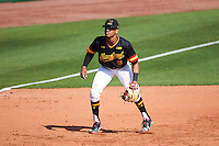 Maryland Terrapins third baseman AJ Lee (6) during a game against the Alabama State Hornets on February 19, 2017 at Spectrum Field in Clearwater, Florida.  Maryland defeated Alabama State 9-7.  (Mike Janes/Four Seam Images)