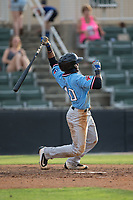 Franklin Rollin (40) of the Hickory Crawdads follows through on his swing against the Kannapolis Intimidators in game one of a double-header at Kannapolis Intimidators Stadium on May 19, 2017 in Kannapolis, North Carolina.  The Crawdads defeated the Intimidators 5-4.  (Brian Westerholt/Four Seam Images)