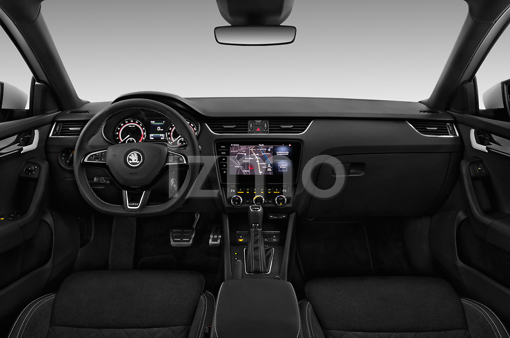 Stock photo of straight dashboard view of a 2017 Skoda Octavia Combi RS 5 Door Wagon