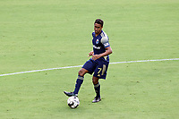 CARY, NC - AUGUST 01: Pecka #7 passes the ball during a game between Birmingham Legion FC and North Carolina FC at Sahlen's Stadium at WakeMed Soccer Park on August 01, 2020 in Cary, North Carolina.