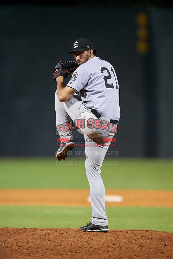 Jackson Generals relief pitcher Justin Donatella (21) delivers a pitch during a game against the Chattanooga Lookouts on May 9, 2018 at AT&T Field in Chattanooga, Tennessee.  Chattanooga defeated Jackson 4-2.  (Mike Janes/Four Seam Images)