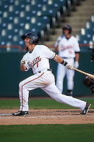 Bowie Baysox shortstop Adrian Marin (1) at bat during the first game of a doubleheader against the Akron RubberDucks on June 5, 2016 at Prince George's Stadium in Bowie, Maryland.  Bowie defeated Akron 12-7.  (Mike Janes/Four Seam Images)