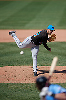 Akron RubberDucks starting pitcher Aaron Civale (48) during an Eastern League game against the Erie SeaWolves on June 2, 2019 at UPMC Park in Erie, Pennsylvania.  Erie defeated Akron 8-5 in eleven innings, the second game of a doubleheader.  (Mike Janes/Four Seam Images)