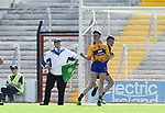 Thomas Kelly of Clare celebrate his goal during  their Munster Minor football final against Kerry at Pairc Ui Chaoimh. Photograph by John Kelly.