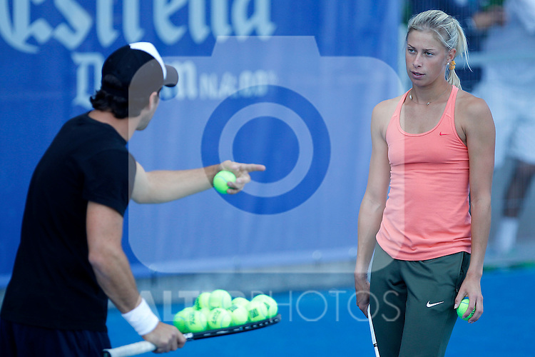 Andrea Hlavackova in training session with her coach during Madrid Open Tennis 2012 Match.May, 9, 2012(ALTERPHOTOS/ALFAQUI/Acero)
