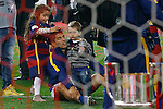 FC Barcelona's Luis Suarez celebrates with his sons the victory in the Spanish Kings Cup Final match. May 22,2016. (ALTERPHOTOS/Acero)
